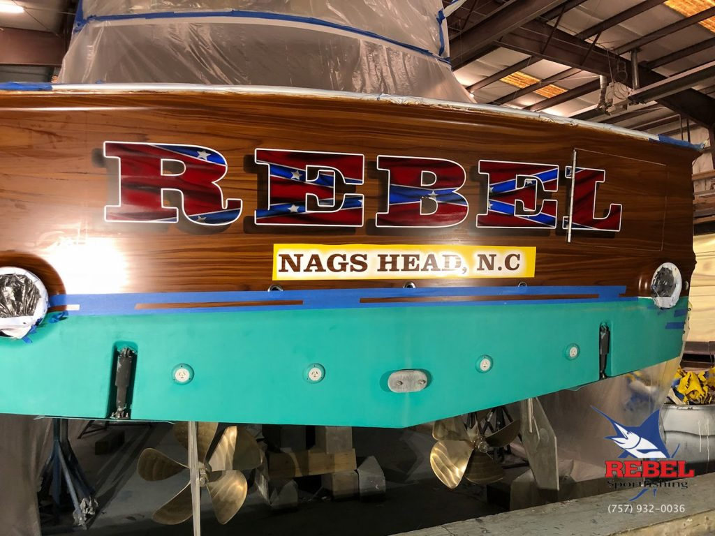 Rebel Sportfishing custom transom paint job